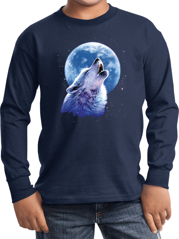 Kids Wolf and Moon T-shirt Call of the Wild Youth Long Sleeve