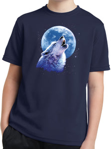 Kids Wolf and Moon Shirt Call of the Wild Youth Dry Wicking Tee