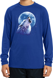 Kids Wolf and Moon Tee Call of the Wild Dry Wicking Long Sleeve