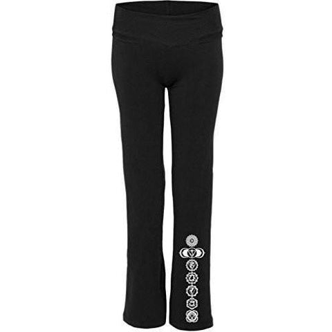 Yoga Clothing for You Womens White 7 Chakras Yoga Pants