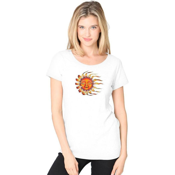 Ladies Sleeping Sun Recycled Triblend Yoga Tee - Yoga Clothing for You - 1
