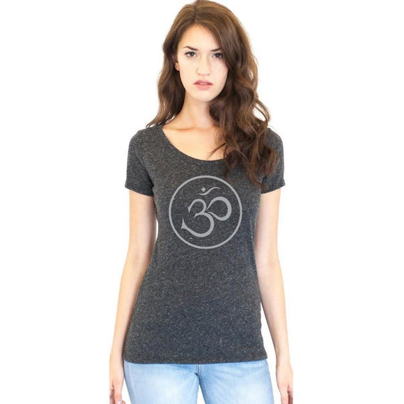 Ladies Recycled Triblend Yoga Tee Shirt - Thin Om Symbol - Yoga Clothing for You