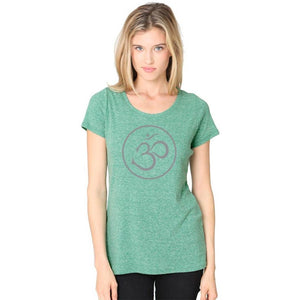 Ladies Recycled Triblend Yoga Tee Shirt - Thin Om Symbol - Yoga Clothing for You - 2