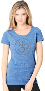 Ladies Recycled Triblend Yoga Tee Shirt - Thin Om Symbol