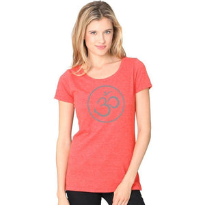 Ladies Recycled Triblend Yoga Tee Shirt - Thin Om Symbol - Yoga Clothing for You - 5