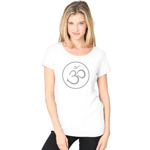 Ladies Recycled Triblend Yoga Tee Shirt - Thin Om Symbol - Yoga Clothing for You - 7