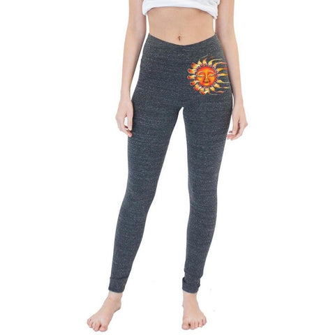 Yoga Clothing for You Ladies Triblend Spandex Leggings - Sleeping Sun (hip print)