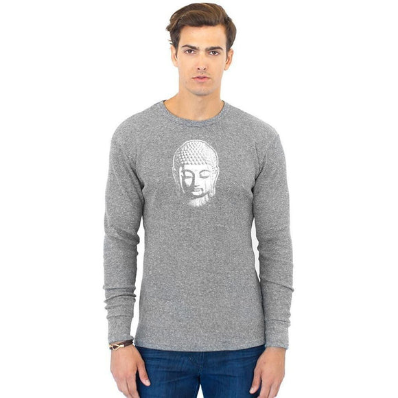 Men's Eco Thermal Tee Shirt - Little Buddha Head - Yoga Clothing for You