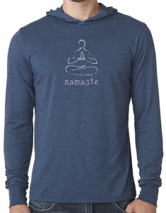 "Mens ""Namaste Lotus"" Lightweight Hoodie Tee Shirt"