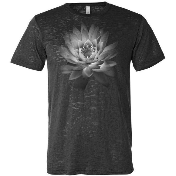 Mens Lotus Flower Burnout Tee Shirt - Yoga Clothing for You