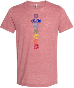 Yoga Clothing For You Mens Colored Chakras Burnout Tee Shirt