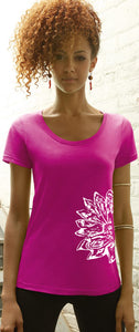 Womens Sketch Lotus Flower TShirt - Side Print