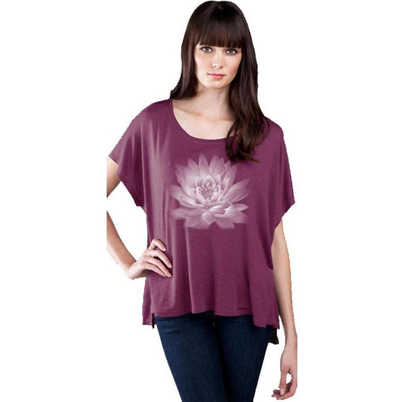 Lotus Flower Slub Fine Jersey Top with Hi-Low Step Hemline - Yoga Clothing for You