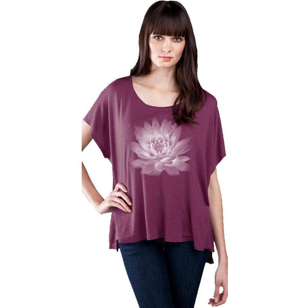 Yoga Clothing for You Lotus Flower Slub Fine Jersey Top with Hi-Low Step Hemline
