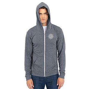 Men's Eco Black Lotus Om Patch Full Zip Hoodie - Yoga Clothing for You - 16