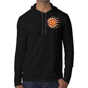 Mens Sleeping Sun Hoodie Tee Shirt - Pocket Print - Yoga Clothing for You - 2