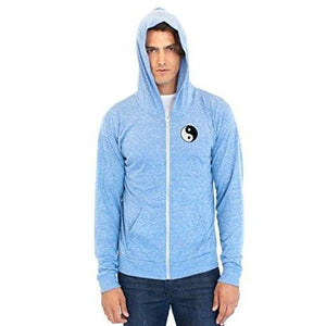 Men's Eco Full Zip Hoodie - Yn Yang Patch - Yoga Clothing for You - 3