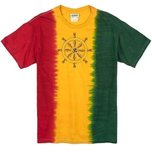 Mens Darma Wheel Rasta Tie Dye Tee Shirt - Yoga Clothing for You