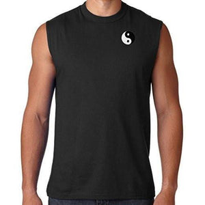 Mens Yin Yang Patch Sleeveless Tee - Pocket Print - Yoga Clothing for You - 4