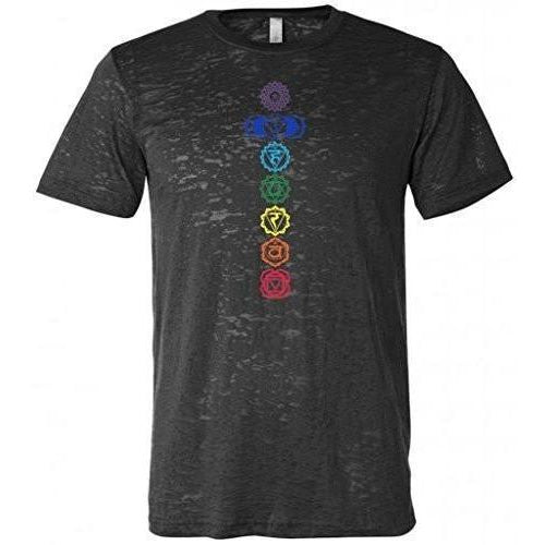 Mens Colored 7 Chakras Burnout Tee Shirt - Yoga Clothing for You - 1
