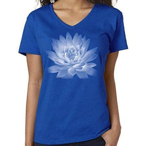 Ladies Yoga Vee Neck Tee - Lotus Flower - Yoga Clothing for You