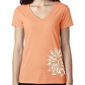 Womens Sketch Lotus Lightweight V-neck Tee - Side Bottom Print - Yoga Clothing for You - 6