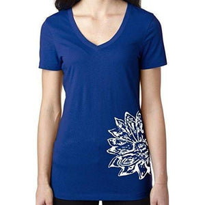 Womens Sketch Lotus Lightweight V-neck Tee - Side Bottom Print - Yoga Clothing for You - 13