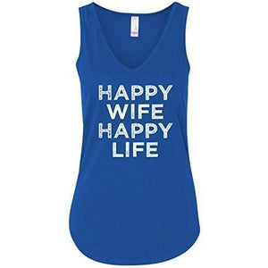 "Ladies ""Happy Wife"" Flowy Yoga Tank Top - Yoga Clothing for You"