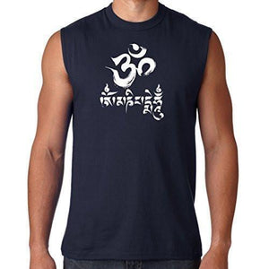 Mens Om Mani Padme Hum Sleeveless Tee - Yoga Clothing for You - 5