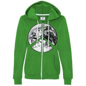 Womens Peace Earth Full Zip Hoodie - Yoga Clothing for You - 4