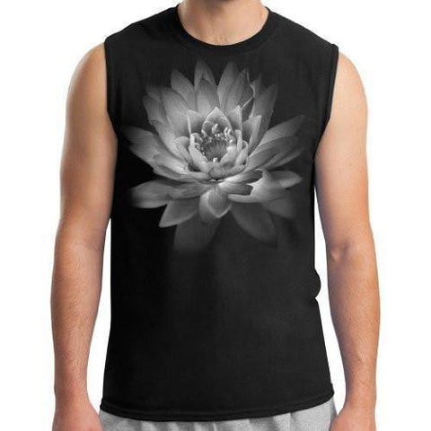 Mens Lotus Flower Muscle Tee Shirt - Yoga Clothing for You