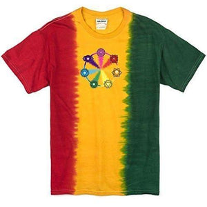 Mens Circle Chakras Rasta Tie Dye Tee Shirt - Yoga Clothing for You