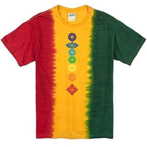 Mens Floral Chakras Rasta Tie Dye Tee Shirt - Yoga Clothing for You