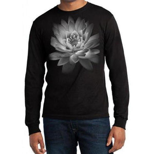 Mens Lotus Flower Long Sleeve Tee Shirt - Yoga Clothing for You - 1