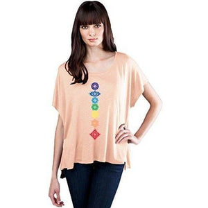 Womens Floral Chakras Slub Fine Jersey Top - Yoga Clothing for You - 2