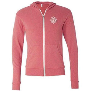 Mens White Lotus OM Patch Full-Zip Hoodie - Pocket Print - Yoga Clothing for You - 8