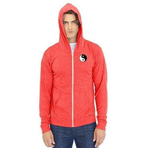 Men's Eco Full Zip Hoodie - Yn Yang Patch - Yoga Clothing for You - 1