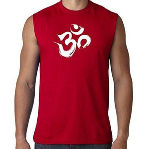 Mens Brushstroke AUM Sleeveless Tee - Yoga Clothing for You - 5