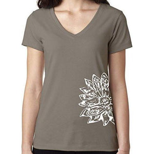 Womens Sketch Lotus Lightweight V-neck Tee - Side Bottom Print - Yoga Clothing for You - 14