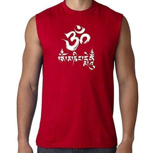 Mens Om Mani Padme Hum Sleeveless Tee - Yoga Clothing for You - 1