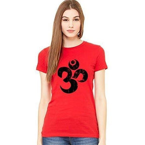 Ladies BLACK DISTRESSED OM Short Sleeve Tee - Yoga Clothing for You