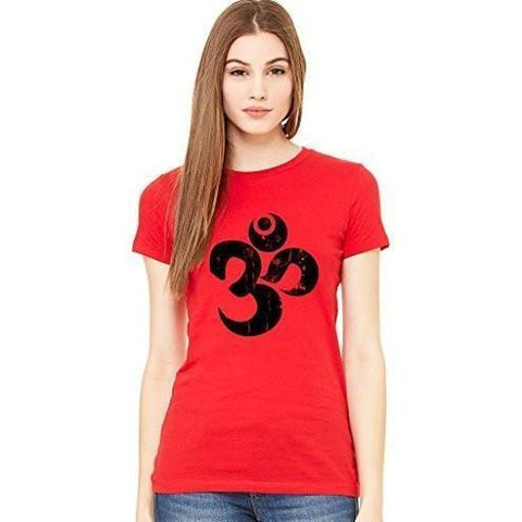 Yoga Clothing for You Ladies BLACK DISTRESSED OM Short Sleeve Tee
