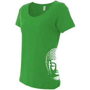 Ladies Little Buddha Head T-shirt - Side Print - Yoga Clothing for You