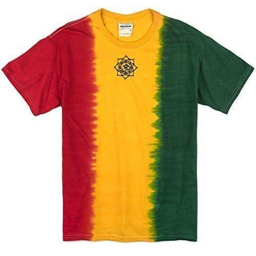 Mens Black Lotus OM Patch Rasta Tie Dye Tee - Middle Print - Yoga Clothing for You
