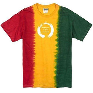 Mens Zen Happiness Rasta Tie Dye Tee Shirt - Yoga Clothing for You
