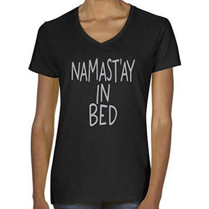 Womens Namaste in Bed Vee Neck Tee - Yoga Clothing for You - 3