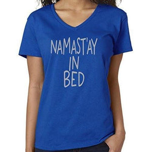 Womens Namaste in Bed Vee Neck Tee - Yoga Clothing for You - 10