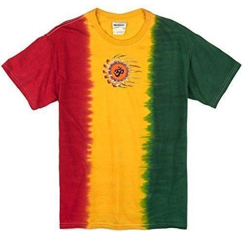 Yoga Clothing for You Mens Om Sun Rasta Tie Dye Tee Shirt