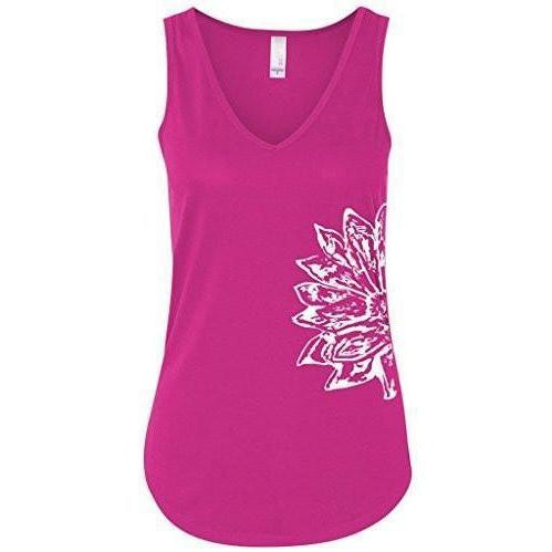 Womens Sketch Lotus Flowy Tank - Side Print - Yoga Clothing for You - 1