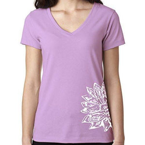 Womens Sketch Lotus Lightweight V-neck Tee - Side Bottom Print - Yoga Clothing for You - 8